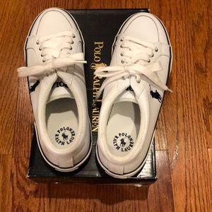 Men's Ralph Lauren Polo leather tennis shoes.